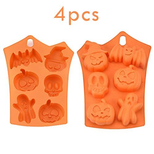 iSuperb 4 stks Halloween mallen siliconen bakken mallen vleermuis schedel pompoen geest decoratie mallen voor gebak chocolade snoepjes maken 4 stks Halloween Molds
