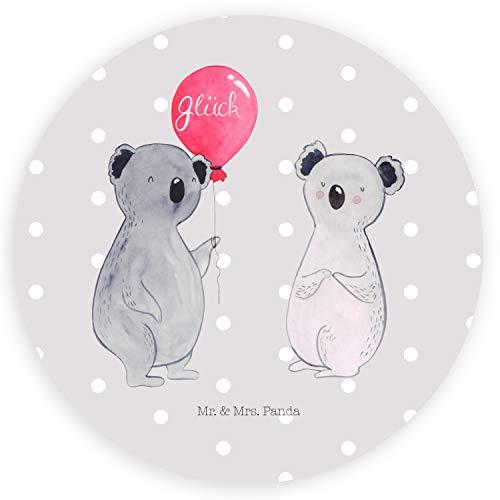 Mr. & Mrs. Panda Etikett, Aufkleber, 80mm Rund Aufkleber Koala Luftballon - Farbe Grau Pastell