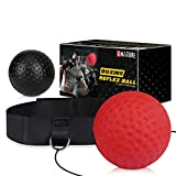 Xnature Bola de Boxeo Reflejo, Bola de Lucha de Reflejo para reacción, Entrenamiento de Boxeo, Velocidad de perforación Adulto/niño (Rojo & Negro)