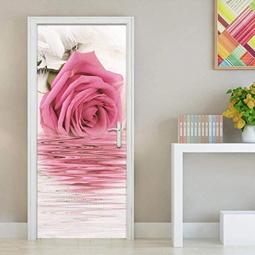 Wsmsp Home Decor 3D Deur Sticker Rose Bloem Water Zelfklevende Hernieuwen Printer Waterdicht Papier Garderobe Renovatie Decal Picture 77X200Cm (30.3 X78.7)