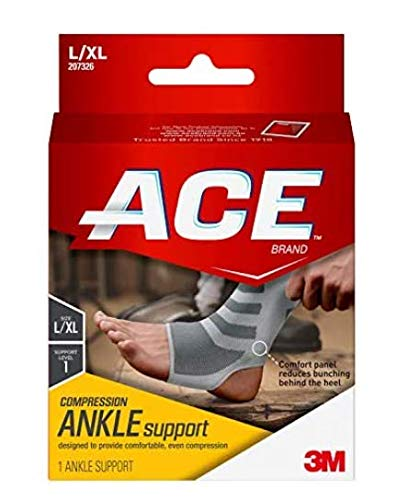 Ace Compression Ankle Support, Gray, Small/Medium