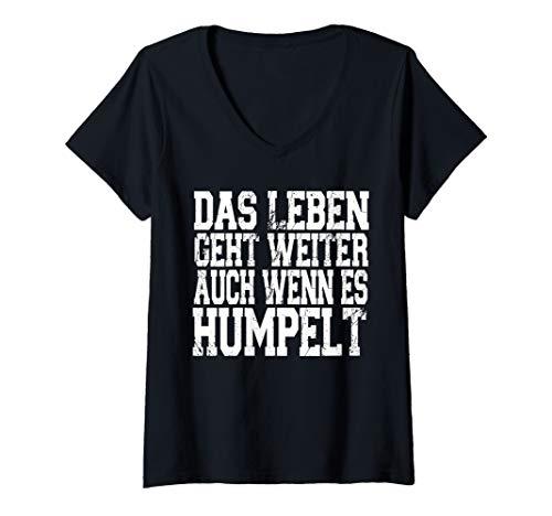 Damen Das Leben geht weiter Auch wenn es Humpelt Geschenk Fun MRT T-Shirt mit V-Ausschnitt