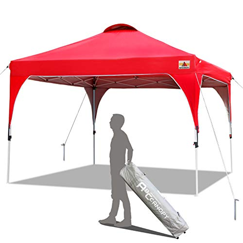 ABCCANOPY - Toldo Comercial para Playa Easy Pop-up, 3 x 3 m, Cubierta de circulación de Aire, buonificación, Bolsa de Transporte y 4 Bolsas de Peso, Rojo