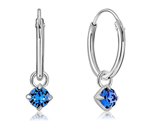 DTPsilver® Pendientes de Aro Pequeños con colgante de 3 mm Cristal Swarovski® Elements - Plata de Ley 925 - Espesor 1.2 mm - Diámetro 12 mm - Color: Zafiro Azul