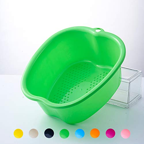 Foot Soaking Bath Basin, Sturdy Durable Plastic Foot Bath and Foot Massager Foot Bucket, Great for Getting the Dead/Old Skin Off Your Feet,Portable Foot Tub (FITS UP to A Men's Size 11)(Green)