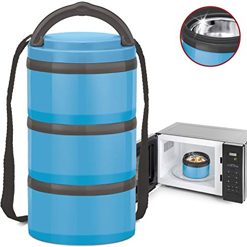 MILTON Insulated Lunch Bento Box Microwave Safe Stainless Steel thermos for Kids/Adults Thermal Food Jar With Shoulder Strap for Men Women 3 Compartment Meal Prep Containers - Blue