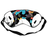 DJNGN 100% Seidenschlafmaske Augenmaske Sleeping Eye Mask Camo Panda Natural Silk Eye Mask Cover with Adjustable Strap