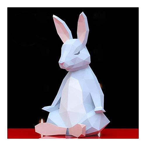 DWhui 3D Origami Modelo de Juguete Juego de Puzzle de Papel del Arte de DIY Animal Origami de Papel de Origami Escultura Conejo Modelo de Papel de Padres y del niño DIY Craft Manual de Animale