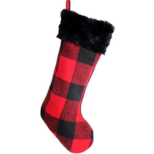 Noir/rouge à carreaux avec imitation fourrure Chaussette de Noël 10 cm x 19 cm