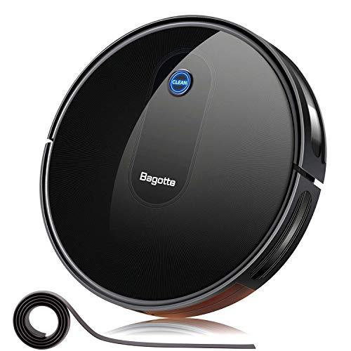 "Bagotte BG600 Robot Vacuum Cleaner, 2.7"" Slim & Quiet, Smart Self-Charging Robotic Vacuum Cleaners, Good for Pet Hair Hardwood Floor Carpet Tile"