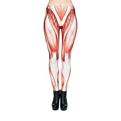 Hanessa Frauen Leggins Bedruckte Leggings Hose Frühling Sommer Kleidung Muskeln Muskel-Gewebe statt Haut L83
