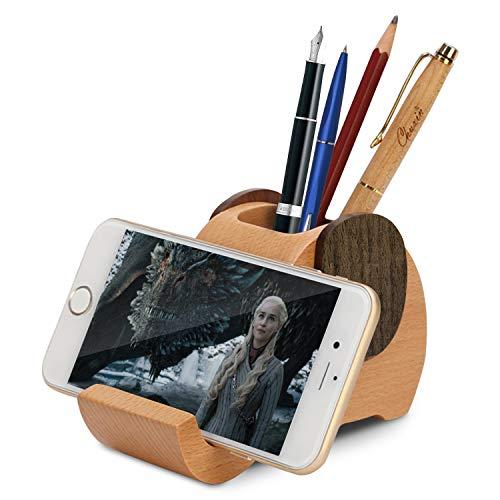 Wood Elephant Pen Holder with Phone Stand,Desk Decoration Multi-Functional Supplies Stationery Organizer,Birthday Graduation Gift (Single hole)