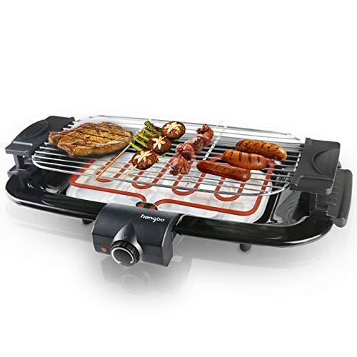 Barbecue Elettrica Senza Fumo Elettrico Barbecue da Tavolo con Vassoio Raccogli Olio, Facile da Pulire, per Barbecue da Casa e da Balcone - 2000W Nero