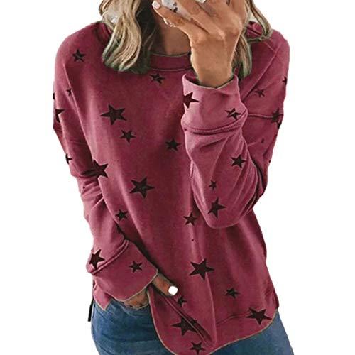 DDYT Maglione Stampato t-Shirt a Maniche Lunghe Allentato a Maniche Lunghe con Stampa Autunnale Casual Sexy da Donna