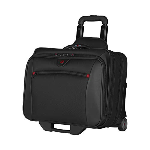 Wenger 600661 POTOMAC 17 Inch 2-Piece Business Wheeled Laptop Briefcase, Padded laptop compartment with Matching 15.4 Inch Laptop Case in Black {23 Litre}
