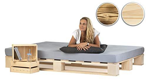 sunnypillow Palettenbett aus Holz Holzbett 140 x 200 cm Massivholzbett Bett aus Paletten Palettenmöbel Naturholz Fichte europalette