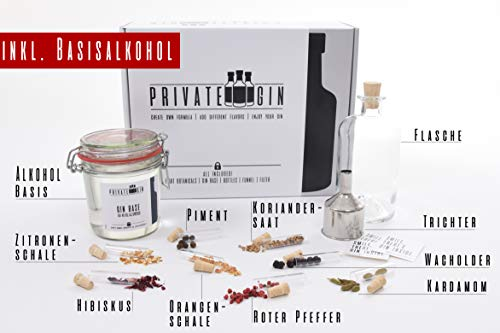 Private-Gin - Gin selbermachen - Gin Baukasten - All inclusive Set - Geschenk für Männer - Gewürze und Basis - 0,45l - 40%vol. alc.