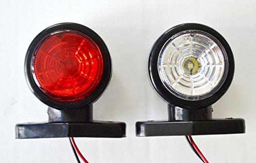 2 x LED 12 V côté Outline marqueur Rouge Feux blancs avec 2LEDs Châssis pour camion remorque caravane Camper