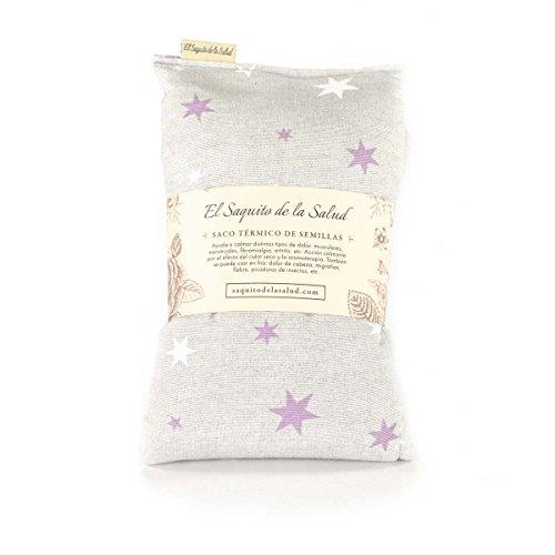 Wärmekissen mit Hirsekernen, Duft nach Lavendel, Orangenblüte oder Rosmarin, Stoff mit roten Sternen 50 cm
