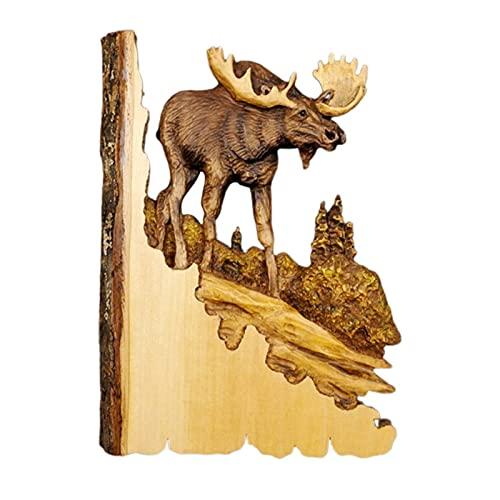 QIUQIAN Arte de Pared de Madera Retro Salvaje Animales en El Bosque Decoración Colgante de Pared para Sala de Estar Dormitorio Baño Interior Al Aire Libre