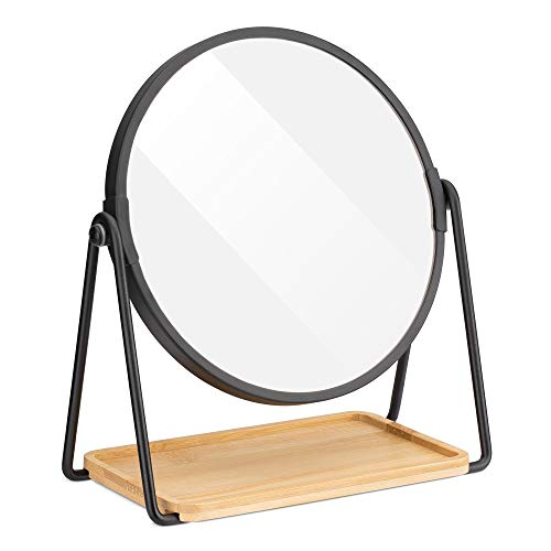 Navaris Tabletop Mirror with Tray - Double-Sided 1x/2x Magnifying Makeup Mirror with Bamboo Base - For Dressing Table, Bathroom, Bedroom - Black
