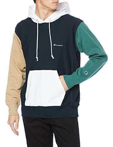 [チャンピオン] パーカー トレーナー 裏毛 長袖 綿100% 10oz カラーブロック スクリプトロゴ刺繍リバースウィーブ フーデッドスウェットシャツ C3-T109 メンズ ネイビー XL
