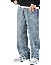 [Libetter] デニムパンツ メンズ 黒 ゆったり ジーパン ジーンズ ベーシック ストレート 春 秋 大きいサイズ