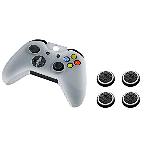 Insten Soft Silicone Anti-Slip Protective Skin Case Cover (White) + [2 Pair / 4 Pcs] Silicone Analog Thumb Grip Stick Cover (Black/White) Compatible with Microsoft XboxOne Game Controller
