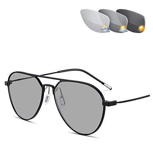 CAOXN Gafas De Aviador Fotocromáticas De Transición, Gafas De Lectura Progresivas De Enfoque Múltiple, Presbicia, Hipermetropía UV400 Gafas De Sol para Hombre,Negro,+1.00