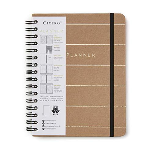 Planner Wire-o Kraft, Bege, Mensal e Semanal, 96 Folhas, Papel Pólen 80g/m², Tamanho A5 (Grande)