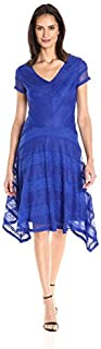 Sangria Women's Short Sleeve Lace Fit and Flare with Handkerchief Hem Dress