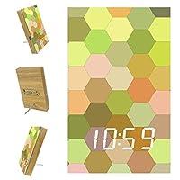 寝室用デジタル目覚まし時計キッチンオフィス3アラーム設定ラジオ木製卓上時計-抽象的な壁の床カラフルなハニカム六角形