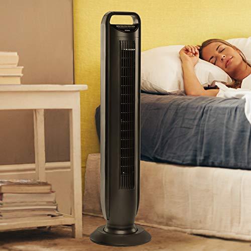 Seville Classics UltraSlimline Oscillating Tower Fan, Black