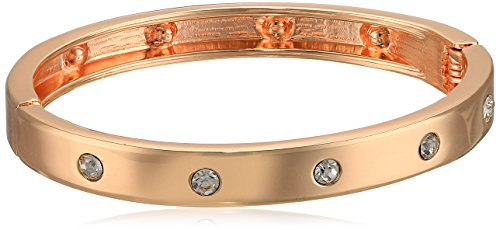 Guess Narrow Hinge with Crystal Rose Gold Bangle Bracelet