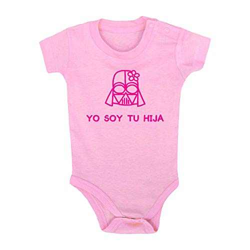 ClickInk Body bebé Yo soy tu hija. Regalo bebé. Regalos para bebés. Regalo divertido. Regalo original. Body bebé friki. Manga corta. (Rosa, 9 meses)