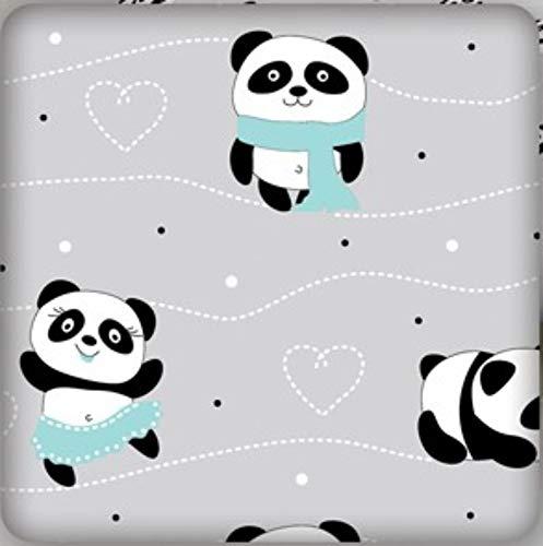 Pure Textilien Erstklassiger Baumwollstoff 0,5lfm, 100% Baumwolle, modische Muster, Breite 160cm – grau tanzende Pandas