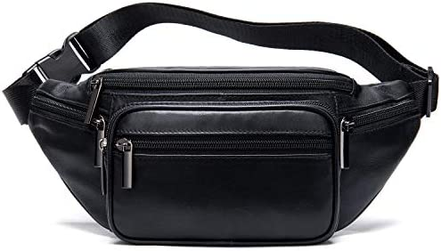 Ranessa Genuine Leather Fanny Pack Purse 7 Zipper Pouches Waist Bag with Adjustable Belt Black product image