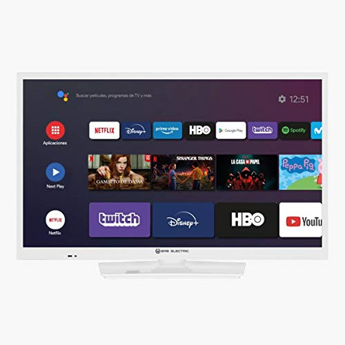 EAS Electric | E24AN70W | Televisor Blanco | Televisión 24 Pulgadas | Smart TV | LED (ELED) | HD Ready 1366 x 768 16:9 | DVB-T/T2/C/S/S2 HEVC | WiFi | Android TV | Google Cast | USB 2 | HDMI 3