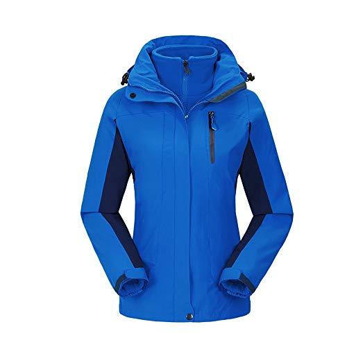 LZXMXR Damen Drei-in-Eins-Jacke, abnehmbar, mit Samt, warm, antistatisch, Skibekleidung (Farbe: B, Größe: XXL)