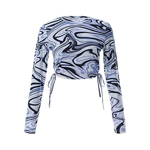 Camiseta de manga larga con cuello redondo para mujer, diseño de rayas abstractas, con laterales de corbata.,...