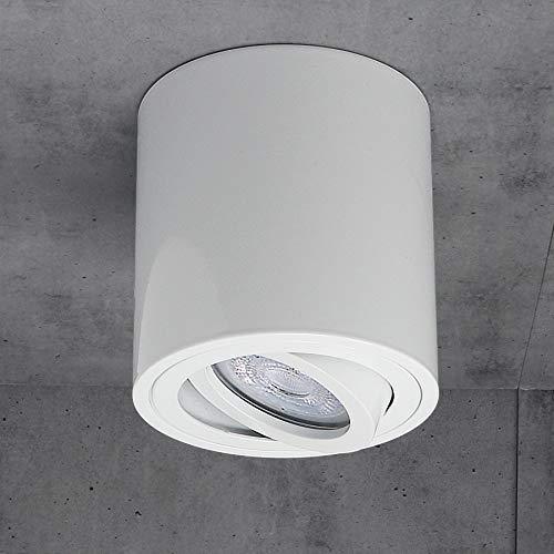 JVS Aufbauleuchte Aufbaustrahler Deckenleuchte Aufputz Led Milano GU10 Fassung 230V rund, weiss, schwenkbar Deckenleuchte Strahler Deckenlampe Aufbau-lampe CUBE Kronleuchter aus Aluminium
