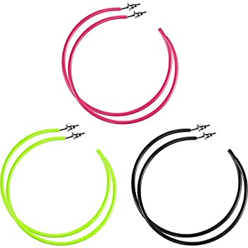 3 Pairs Women Fashion Retro Neon Earrings for 80 s Party or Retro Costume Party  Loop Earings