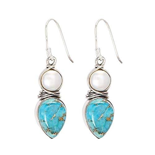 Carry stone Premium Qualität Mode Ohrringe für Frauen, Exquisite Faux Türkis Perle Haken Ohrringe Frauen Partei Schmuck Geburtstagsgeschenk - Silber