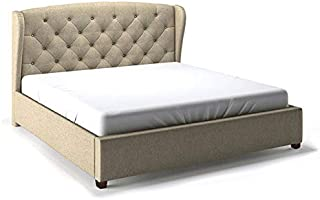 Asghar Furniture - Embre Wingback Tufted Bed - Beige, Super King With Mattress