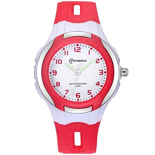 Kinder Analoge Uhren,Jungen Mädchen Armbanduhr wasserdichte Leicht zu Lesen Zeit Weicher Riemen Armbanduhren Geschenk für Kinder (Rot)
