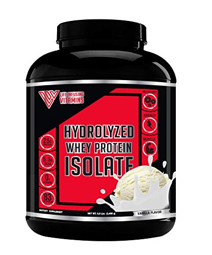 100% Grass Fed Hydrolyzed Whey Protein Powder ISO 100, 5.5 lbs, Gourmet Vanilla, Non-GMO Hydrolysate, Keto Friendly, Paleo Friendly, Zero Sugar, Low Carb, Pure Protein Meal Replacement Protein Powder