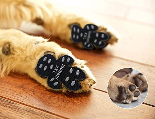 LOOBANI 48 Pieces Dog Paw Protector Traction Pads to Keeps Dogs from Slipping On Floors, Disposable Self Adhesive Shoes Booties Socks Replacement, 12 Sets for 4 Paws (XXL-2.48'x2.68', Black)