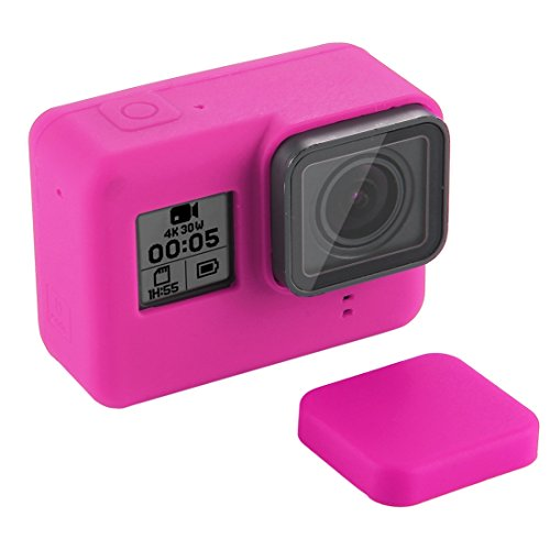 Activity Camera Silicone Case Cover Silicone Cover met lens deksel for GoPro Hero7 zwart / 7 wit / 7 zilver / 6/5 (zwart), magenta