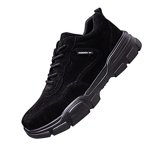 Transpirable Zapatos de Seguridad Trabajo Punta,Seguridad para Hombre con Puntera de Acero Zapatillas de Seguridad Trabajo, Calzado de Industrial y Deportiva,Black▁41
