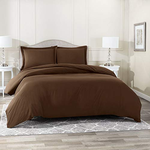 Nestl Bedding Duvet Cover 3 Piece Set – Ultra Soft Double Brushed Microfiber Hotel Collection – Comforter Cover with Button Closure and 2 Pillow Shams, Chocolate - Queen 90